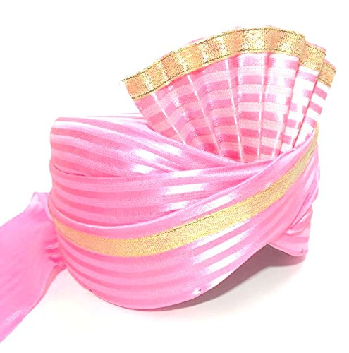 Wedding Bazaar Unisex Cotton Traditional Turban with Golden Lace (Pink, Free Size)