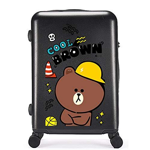 Valigia Per Bambini DXWF Cartone Animato Bambini 20'24'26'pollici Abs-pc Travel Trolley Borse Case Bambini Rotolamento Bagaglio Borsa Da Viaggio Su Ruote 33,24,53 cm Nero