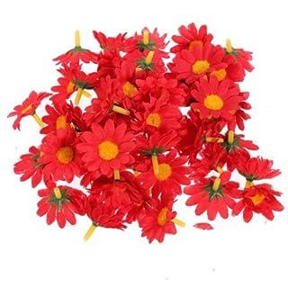 Well-Goal 50 Pieces Sunflower Artificial Silk Flower Heads Craft Wedding Party Home Decor
