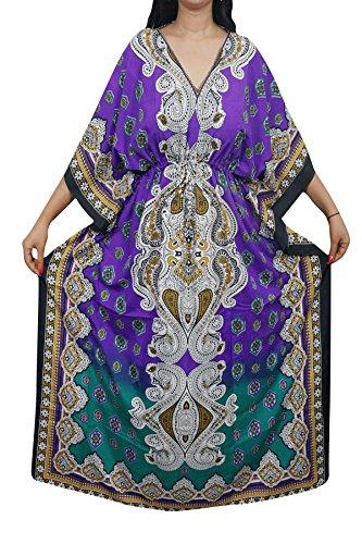 Indiatrendzs Women Kaftans Light Viscose Fabric Evening Wear Cover Up Kimono Maxi Kaftan Dress 56\ (Purple/Green)