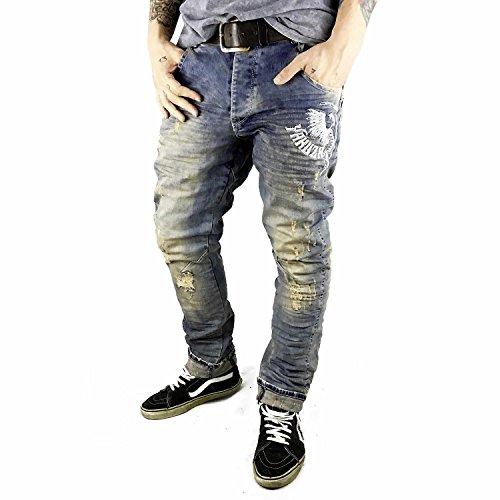 Yakuza Herren Jeans in verschiedenen Waschungen Skelleton retro havoc