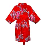 Cathy's Concepts Personalized 1X/2X Floral Satin Robe, Red, Letter N
