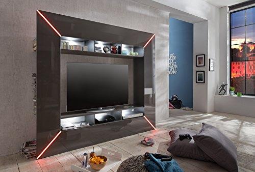 trendteam SC95121 Wohnwand TV Möbel grau Hochglanz, BxHxT 201x180x35 cm - 7