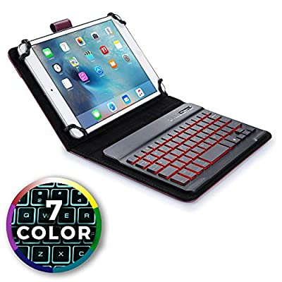 7-8'' inch tablet keyboard case, COOPER BACKLIGHT EXECUTIVE 2-in-1 Backlit LED Bluetooth Wireless Keyboard Leather Travel Carrying Cases Cover Holder Folio Portfolio Stand with 7 Colors