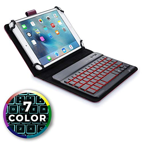7-8 Zoll Tablet Hülle mit Tastatur, Cooper Backlight Executive 2-in-1 kabellose Bluetooth-Tastatur mit LED-Hintergrundbeleuchtung, Leder, Reiseetui, Mappe, Standfuß, 7 Farben (Lila)