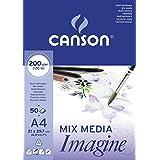 Canson Imagine - Bloc papel de dibujo (A4, 21 x 29.7 cm), color blanco puro