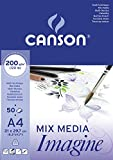 Canson Imagine - Bloc papel de dibujo (A4, 21 x 29.7 cm), color blanco puro