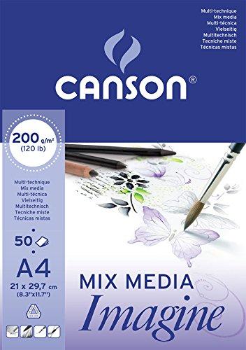 festes papier Canson 200006008 Imagine Mix-Media Papier, A4, rein weiß