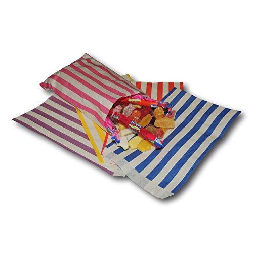 POSGEAR 100 Mixed 18cm x 23cm Coloured Candy Stripe Sweet Paper Party Bags - Ideal for Gift Shops, Wedding Favours, Candy Carts, Buffets etc - (Blue, Pink, Purple, Red & Yellow) ()