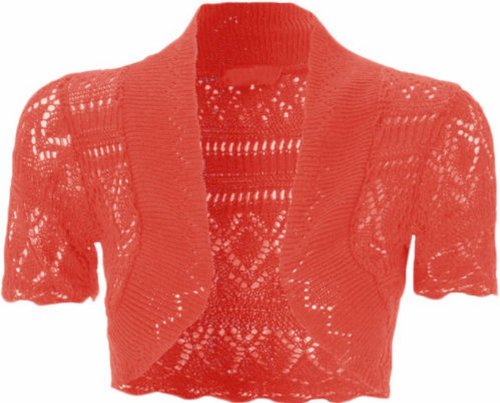 Chocolat Pickle® Nouvelle Femme Crochet Knit Poisson Net Bolero Boléro TOPS 8–20 red
