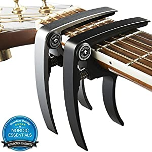 Guitar Capo (2 Pack) for Guitars, Ukulele, Banjo, Mandolin, Bass - Made of Ultra Lightweight Aluminum Metal (1.2 oz!) for 6 & 12 String Instruments - (Black + Silver) - Premium Accessories by Nordic Essentials™ - Lifetime Warranty