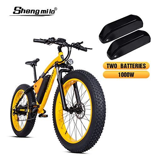 Shengmilo-MX02 26 Pulgadas neumático Gordo Bicicleta eléctrica 1000 W Beach Cruiser Hombres Mujeres Montaña e-Bike Pedal Assist 48V 17AH batería...