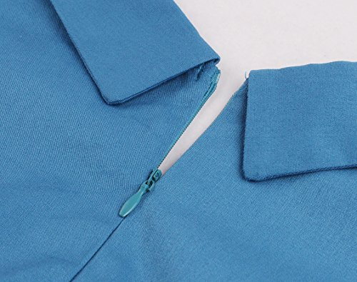 VKStar Vintage 50er Stoffdruck Cocktailkleid ärmellos Abendkleid Retro Swing Rockabilly Ballkleid Blau 3XL - 4