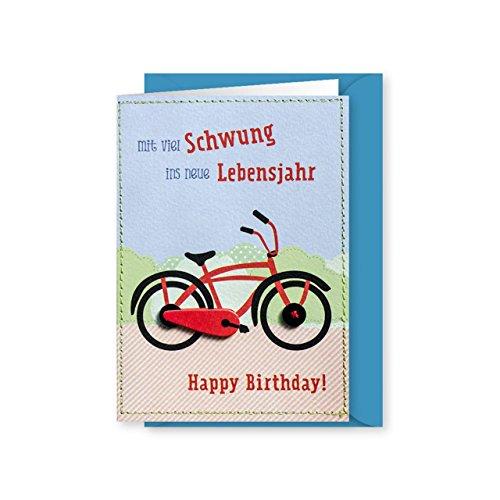 Knopfkarte 54 - Fahrradschwung - Geburtstagskarte - Midi-Karte