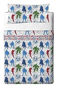 Marvel Avengers Trio–Parure de draps 3pièces Pour lit de 90cm