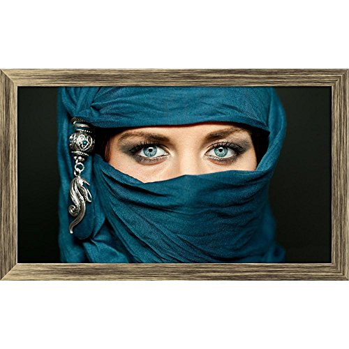 Pitaara Box Arabic Woman In Traditional Islamic Cloth Niqab Canvas Painting Antique Golden Frame 20.5 X 12Inch