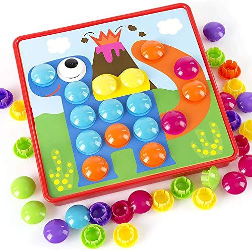 el Taste Kunst Farbabstimmung Mosaik Pegboard Farbe Geometrie Form Kognitionsfähigkeit Frühes Lernen Lernspielzeug für Jungen und Mädchen Geburtstagsfeier Geschenk Geeignet für jed ()