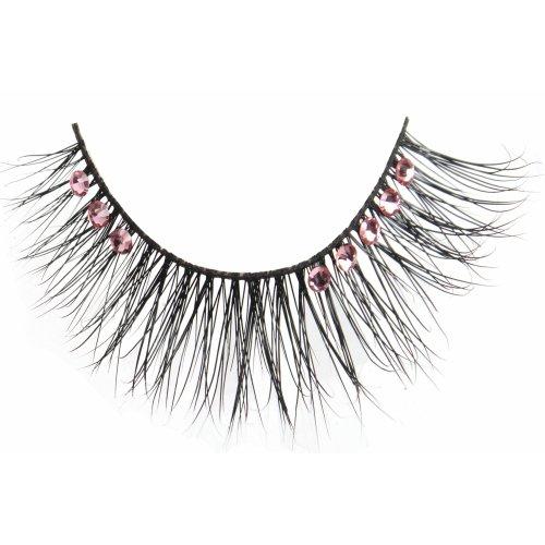 (3 Pack) FLUTTER Real Mink Fur Crystal Lashes - Anne Pink Crystals
