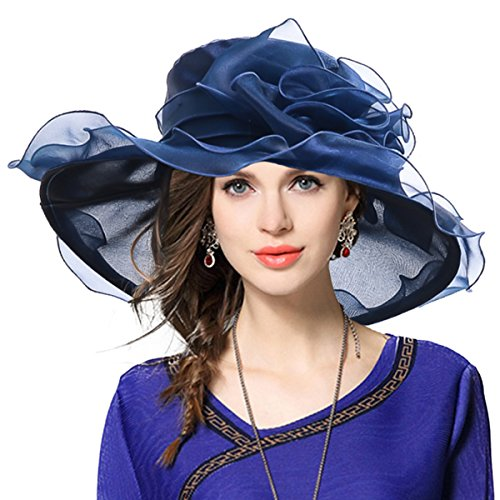 VECRY Damen Organza Kirche Derby Fascinator Braut Hochzeit Sonnenhüte (Marine) (Sommer Kleid Hüte Für Frauen)
