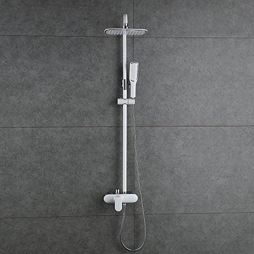 Homelody – Duschsystem mit Einhebelmischer inkl. Brausestange und Brausegarnitur, Weiß - 3