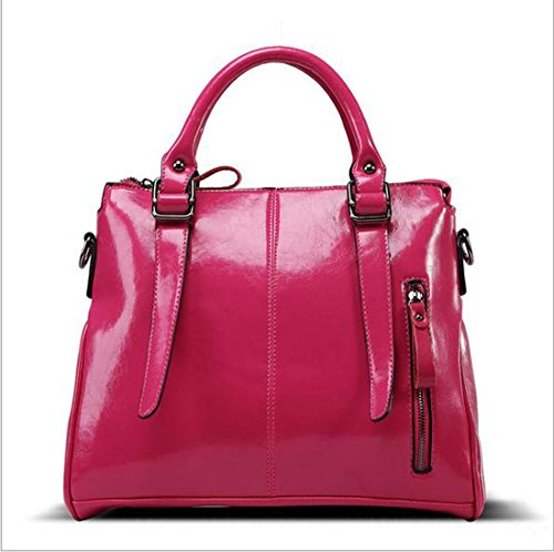 Faux-leder-satchel (Frauen Vintage Retro Lässig große Einkaufstasche Satchel Tasche Faux Leder Quadrat Rot Schwarz Crossbody Tasche Handtasche Schulter Reißverschluss PU von Wtting ( Color : 5 ))