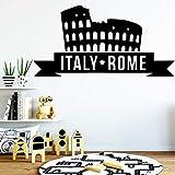 xingbuxin Moderne Italie Rome Bâtiment Stickers Muraux Ameublement Décoratif Papier Peint Autocollants en Vinyle Décoration De La Maison Accessoires Rouge L 42 cm X 83 cm...