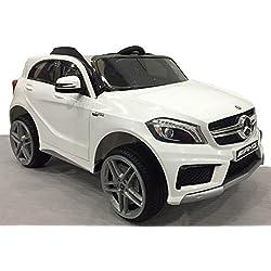 Véhicule électrique Mercedes-Benz A45 AMG, Blanc, Licence originale, À propulsion par batterie, Portes d'ouverture, Siège en cuir, 2x Moteur, Batterie 12 V, Télécommande 2.4 Ghz, Démarrage lisse