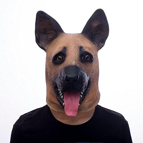 (Deutsch Schäferhund Tierkopf Maske, Polizei Hund Latex Maske, Halloween Neuheit Kostüm Party Hund Maske)