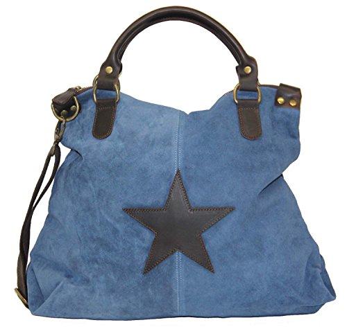 XL Wildleder Damentasche Stern Stars Shopper Henkeltasche Tasche Rauhleder/Leder (grau) mittelblau