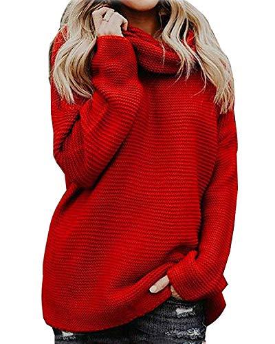 Yidarton Pullover Damen Rollkragenpullover Strickpullover Lässiges Stricken Pulli Winter Sweatshirt Oberteile Elegant, Rot, S