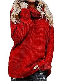 3d2c22d4aa0441 Yidarton Pullover Damen Rollkragenpullover Strickpullover Lässiges Stricken  Pulli Winter Sweatshirt…