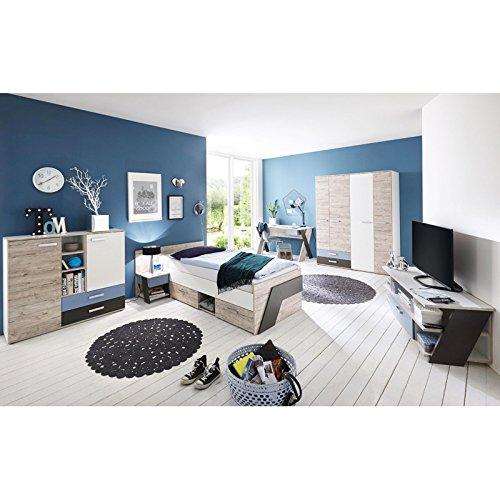 Lomadox Jugendzimmer Komplett Set Kinderzimmer Schlafzimmer Set LEEDS-10 6-teilig in Sandeiche Nb. Made in Germany