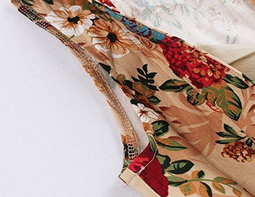 Minetom Damen Vintage 1950er V-Ausschnitt Ärmellos Blumen Drucken Kleid Beiläufig A-Linie Blouson Abendkleid Cocktailkleid Khaki