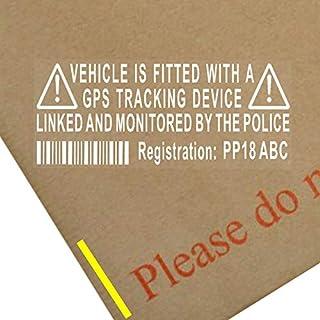 Platinum Place Unechter Warnhinweis-Aufkleber über GPS-Überwachung, mit Registrierungsnummer und Hinweis über polizeiliche Überwachung, für Fahrzeuge, 4 Stück