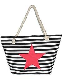 Mevina Damen große Stern Strandtasche gestreift Sylt Badetasche Tragetasche Einkaufstasche Shopper Umhängetasche XL – 55x40x15 cm (B x H x T)