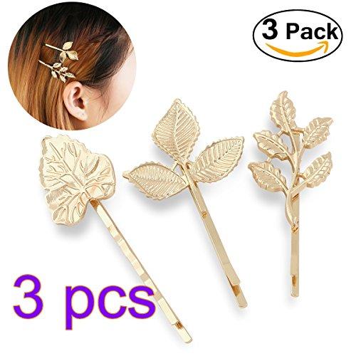 Pixnor 3 paires feuilles Barrettes épingle cheveux Clips mariée coiffure bord Clip colliers or
