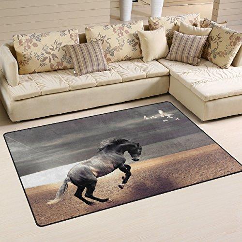 BENNIGIRY Tier Pferd läuft Rutschfeste Bereich Teppiche Home Decor, Fußmatte Wohnzimmer Schlafzimmer Teppiche Fußmatten 78,7x 50,8cm, Polyester, Mehrfarbig, 60 x 39 inch -