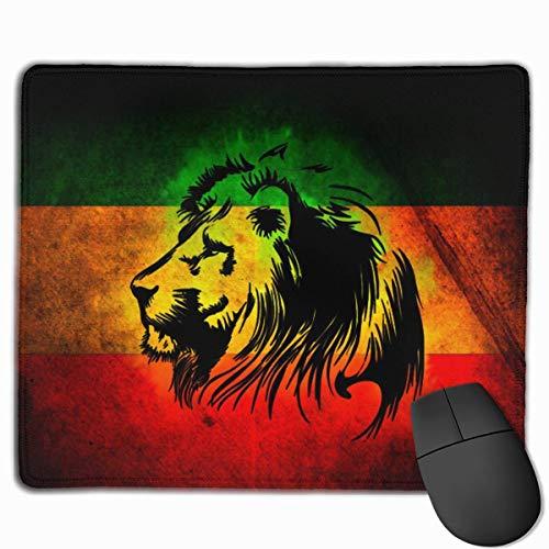Reggae Rasta Flag Lion Junior's Black Personalized Design Mauspad Gaming Mauspad with Stitched Edges Mousepads, Non-Slip Rubber Base, 300 x 250 x 3 mm Thick - Best Gift Idea (Mini-rasta Flag)
