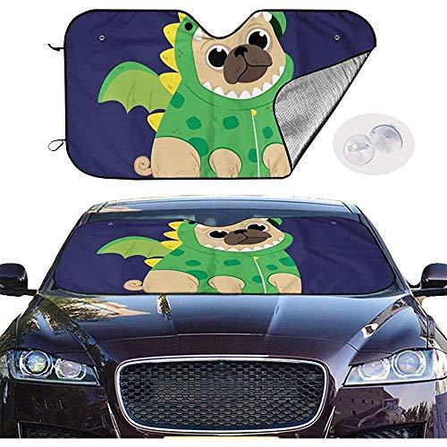 Dinosaurier Lkw Kostüm - Blaim sunshade covers Cartoon Welpe In Einem Grünen Dinosaurier Kostüm Auto Windschutzscheibe Sonnenschutz Universal Fenster Halten Sie Ihr Fahrzeug Cool Visier Für Auto LKW SUV Sonnenschutzabdeckung