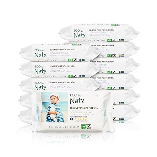 Naty by nature babycare salviettine umide ecologiche, con aloe vera - 12 confezioni da 56 pezzi