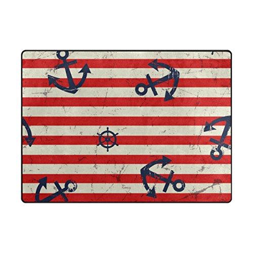 Red Stripe Teppich (ALAZA Vintage Anchor Red Stripe Bereich Teppich 4' x 5'3