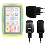 DURAGADGET Caricatore da Parete per Tablet Lisciani Giochi Mio Tab 7' Smart Kid - 64212 | Mio Tab 7' Smart Kid Special Edition - 64205 - Doppia Porta USB - Spina Europea