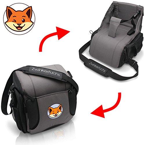 Boostersitz von Zwinkerfuchs - Sitzerhöhung und Tasche vereint - Verwandeln Sie die Wickeltasche in einen Baby Reisesitz für unterwegs - Der ideale Begleiter wenn kein Hochstuhl zu finden ist