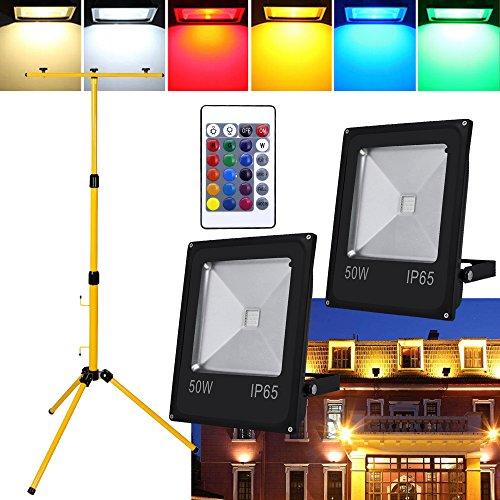 Hengda® GB LED Fluter Außen Strahler Flutlicht LED Scheinwerfer Baustrahler IP65 Garten Fassadenstrahler + Teleskop Stativ (50W+Teleskop Stativ)