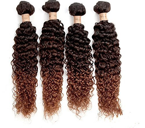 Cheveux Vierges brésiliens Deep Wave Bouclés Wave Ombre Foncé 1 lots brésilien tissage cheveux bouclés Ombre Ombre 1b/4/30 (45,7 cm)