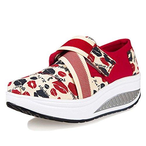 solshine Femme Print Canvas Loisirs Chaussures Sneakers Tendance avec talon compensé Sport Lippen
