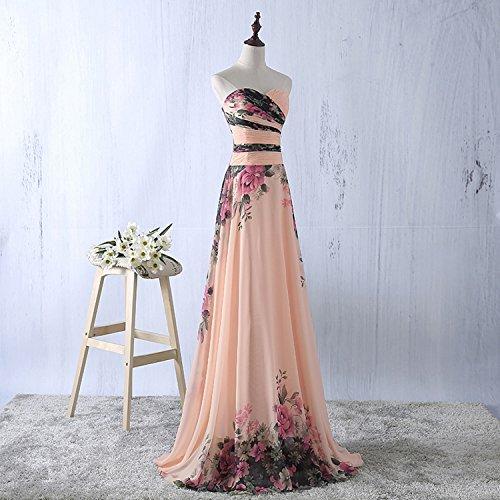 81a93a60bba4 abito da cerimonia donna in chiffon damigella vestito lungo elegante  floreale da festa party-Pink peach -M(busto 88cm)