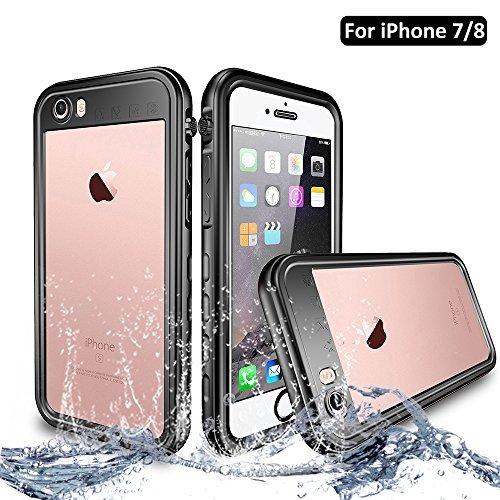 NewTsie iPhone 7 / iPhone 8 Wasserdicht Stoßfest Hülle, IP68 Zertifiziert Schutzhülle Staubdicht mit Eingebautem Displayschutzfolie für Apple iPhone 7/8 4.7 inch (T-Schwarz)