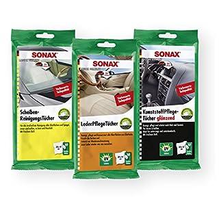 SONAX Scheibenreinigung Kunststoffpflege Lederpflege Tücher Tuch Innenraum