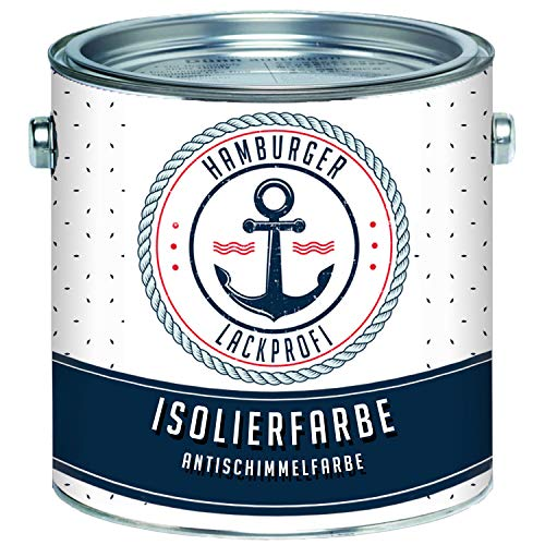 Isolierfarbe matt Weiß Antischimmelfarbe Innen unter Dispersionsfarbe Sperrgrund Nikotinfarbe Deckanstrich Nikotinsperre // Hamburger Lack-Profi (5 L)